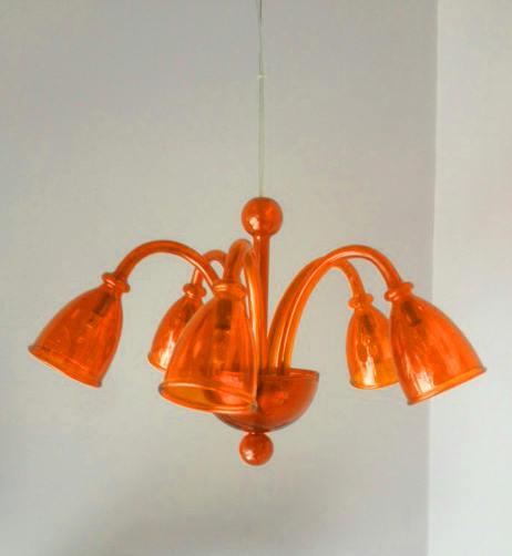 Lampadario mini, Bea 5 luci arancio – sconto 50%, 1 pezzo disponibile