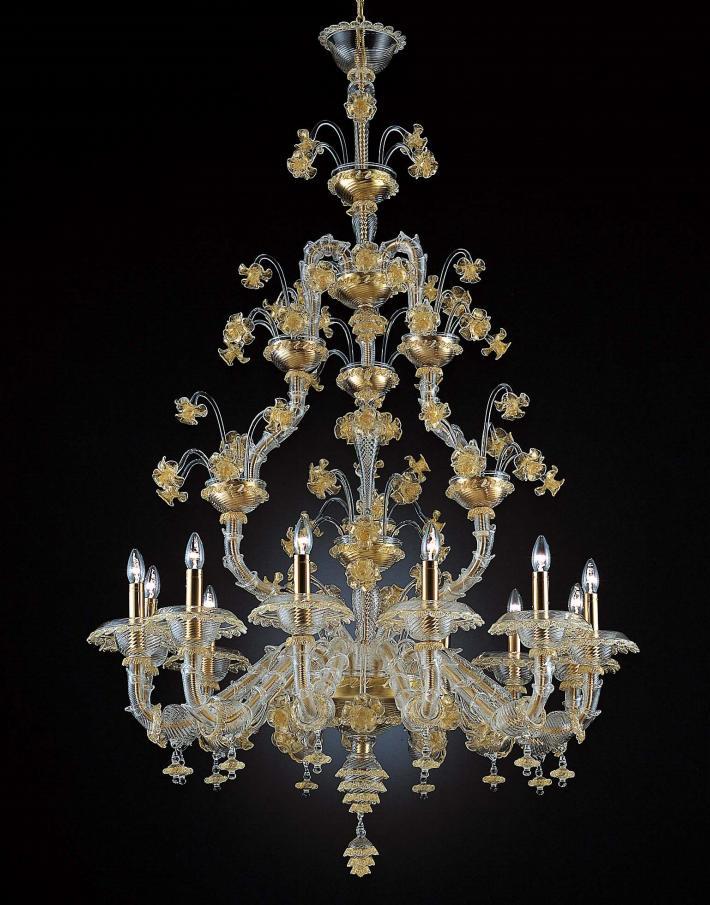 Lampadario La Murrina 12 luci Ca Rezzonico S12 cristallo e oro, sconto 50% - 1 pezzo disponibile