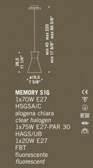 Sospensione moderna Memory S1G ambra – sconto 50%, 3 pezzi disponibili Image 1