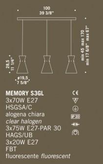 Sospensione moderna 3 luci Memory S3GL – sconto 50% PRODOTTO ESAURITO Image 2
