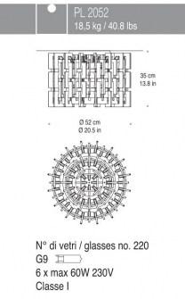 Lampada da Soffitto Sixty PL2052 cristallo, sconto 50%, PRODOTTO ESAURITO Image 1
