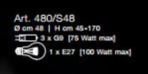 Lampada a Sospensione Pizzo 480/S48, sconto 50%, prezzo scontato 703,00 euro - 1 pezzo disponibile Image 1