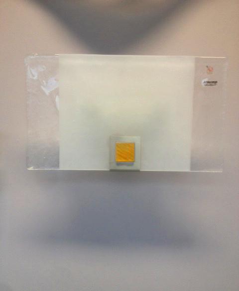 Lampada da parete Rio 1076, vetro piatto inserto ambra, sconto 50%, 1 pezzo disponibile