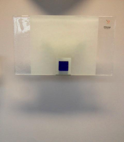 Lampada da parete Rio 1076, vetro piatto inserto blu, sconto 50%, 1 pezzo disponibile