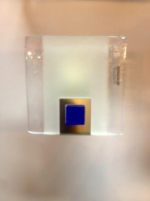 Lampada da parete Rio piccola, vetro piatto inserto blu, sconto 50%, 1 pezzo disponibile