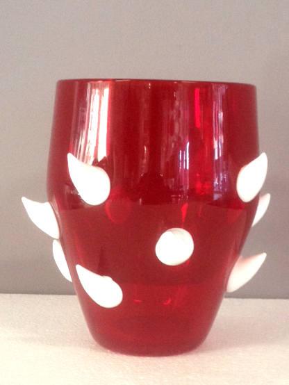 Vaso Volutta piccolo bianco rosso, 1 pezzo disponibile, sconto 50%, prezzo scontato 203,74 Euro