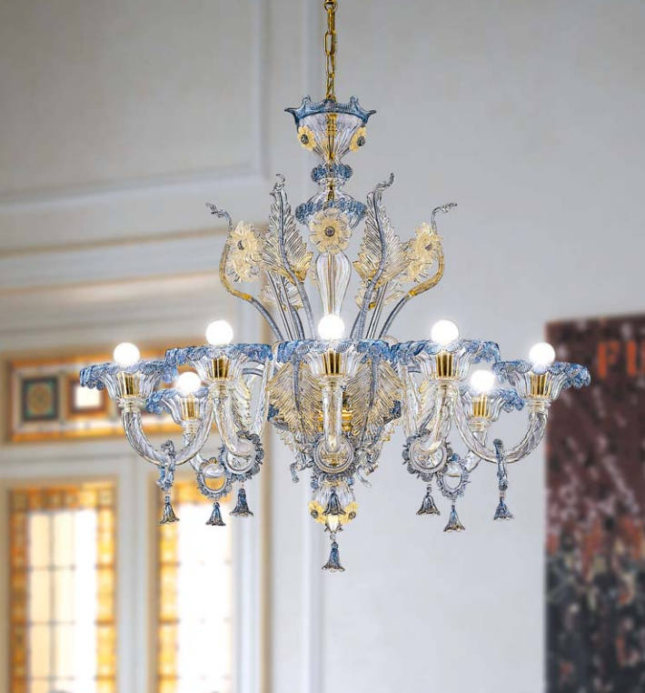 Lampadario La Murrina 8 luci Veneziano S8 cristallo, blu, oro, sconto 50% - PRODOTTO ESAURITO